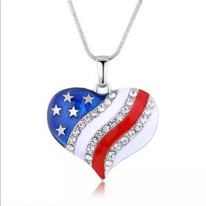 Lucky Blue Red Enamel Star Heart Necklace